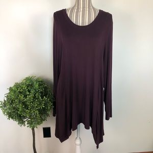 LOGO tunic Xl stretchy top burgundy purple EUC